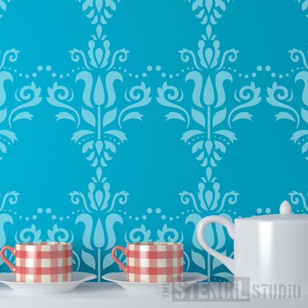 Scandi Damask Stencil from The Stencil Studio Ltd - Size S