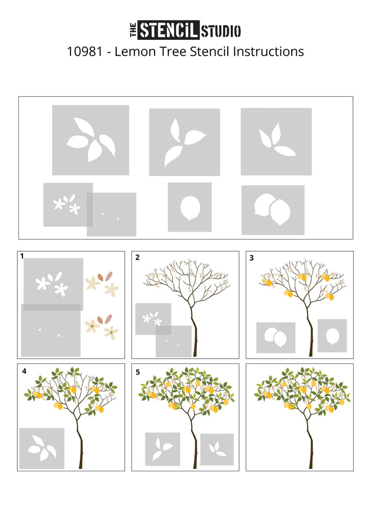Triangle Tree with Lemons Stencil Pack