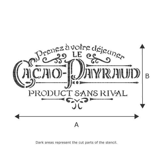 Cocao Payraud French Vintage Stencil - Stencil Size Chart