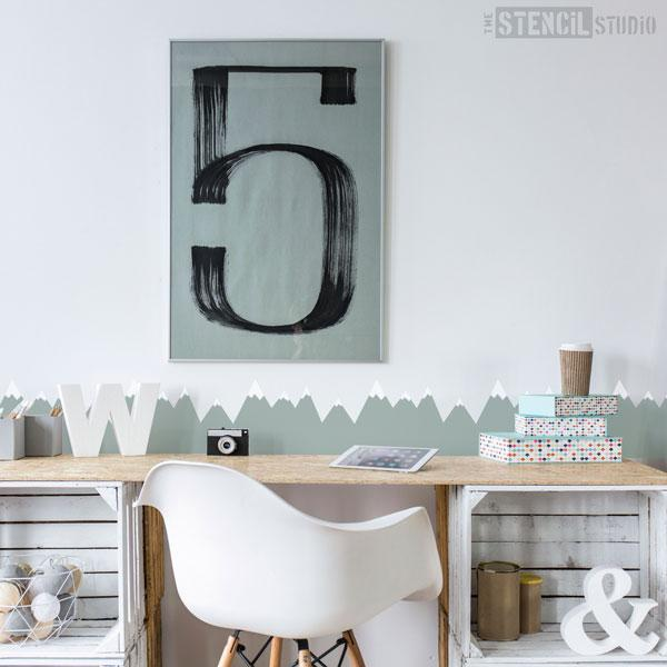 Scandi Mountain Range - The Stencil Studio nursery stencils - Size S