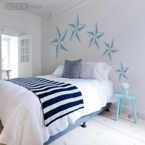 Nautical star stencil from The Stencil Studio - Set of 5 different sized stencils