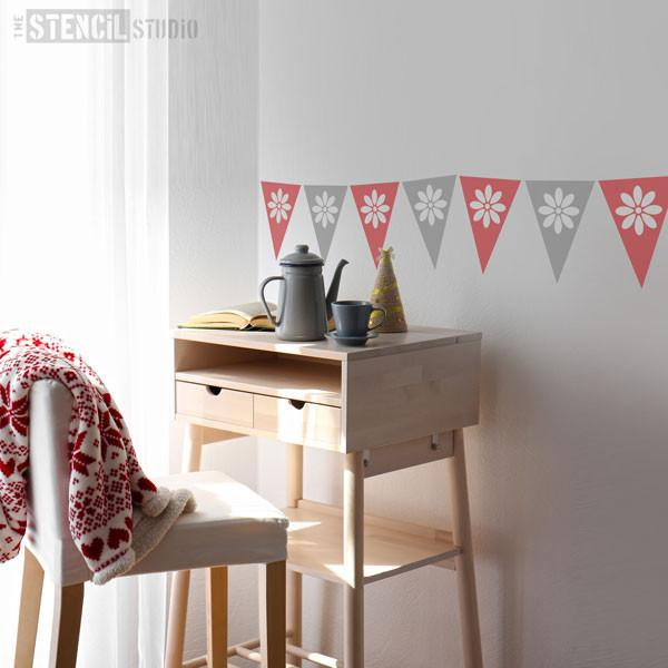 Daisy bunting stencil from The Stencil Studio Bunting collection - size XS/A5