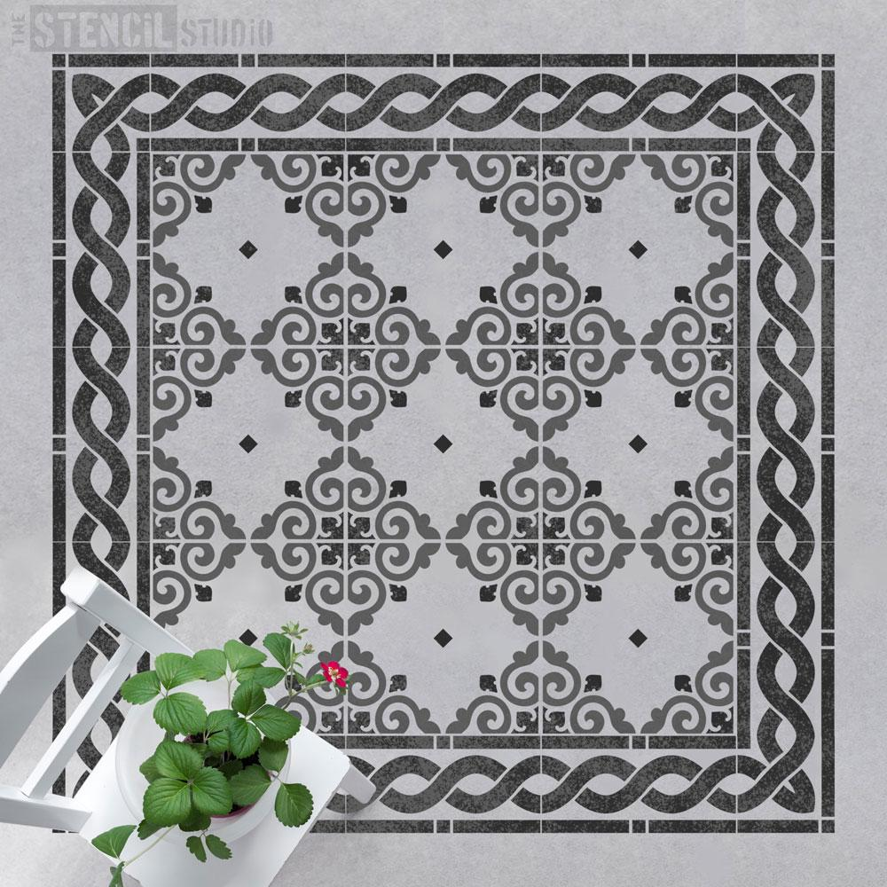 Tetbury Tile Rug Stencil from The Stencil Studio