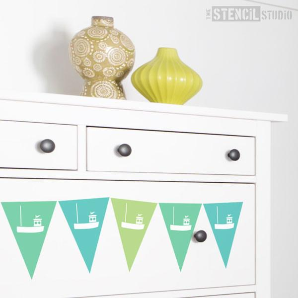 Fishing Boat Bunting stencil from The Stencil Studio Ltd - Size XS