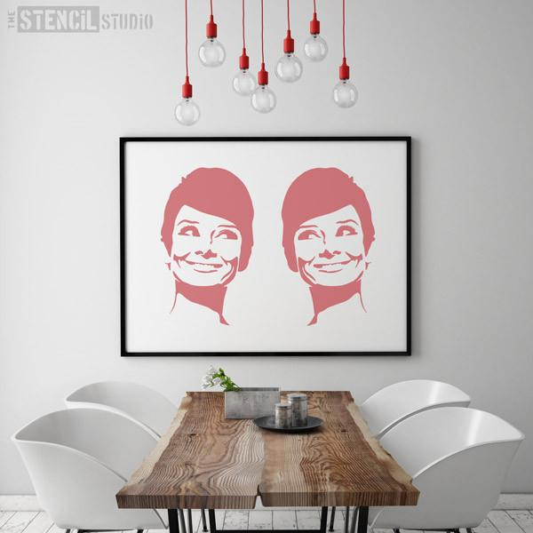 Audrey Hepburn smiling stencil from the stencil studio Ltd Size XL
