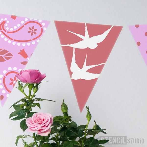 Swallows Bunting Stencil