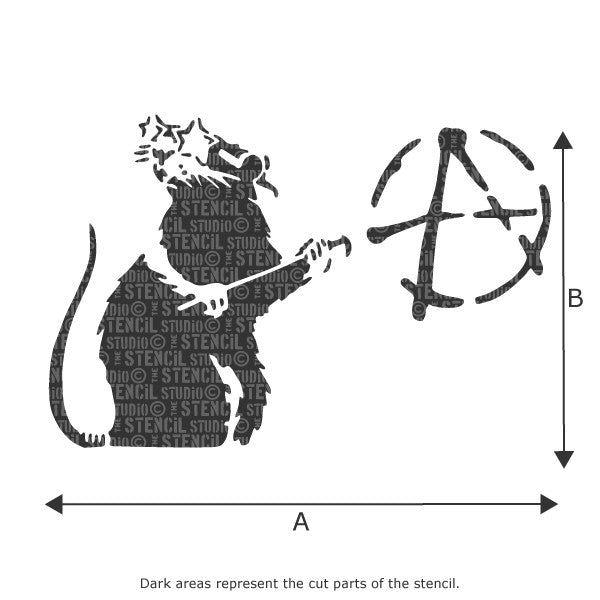 Banksy Anarchy Rat Graffiti Wall Stencil available in range of sizes - Size Chart
