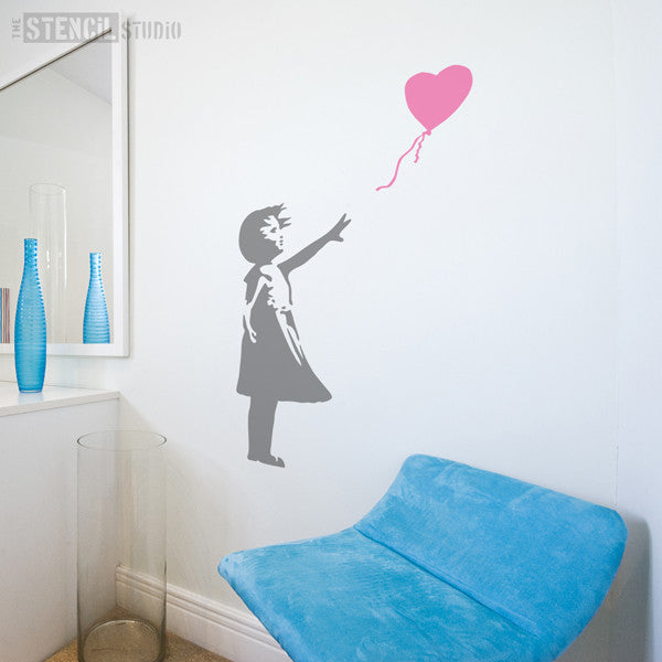 Banksy Balloon Girl Wall Stencil from The Stencil Studio - Size XL