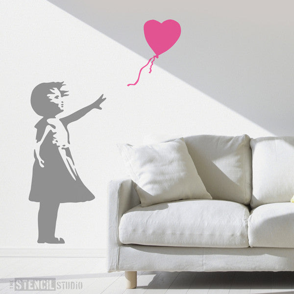 Life Size Banksy Balloon Girl Wall Stencil From The Stencil Studio   Size  XXL