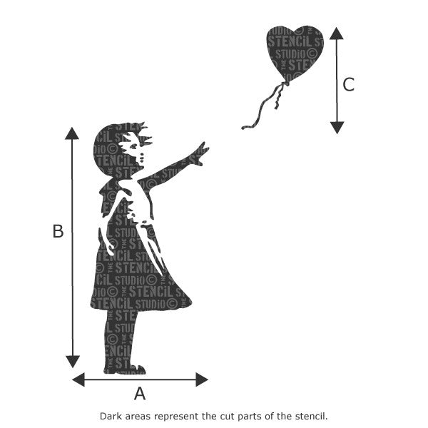 Banksy Balloon Girl Wall Stencil from The Stencil Studio - Available in various sizes - Size Chart