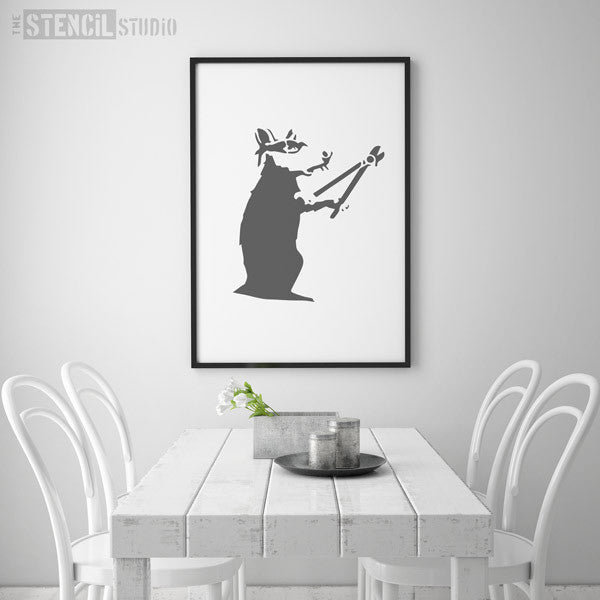 Banksy Bolt Cutter Rat Wall Stencil from The Stencil Studio - Size XL