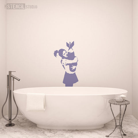 Banksy Bomb Hugger Girl Wall Stencil from The Stencil Studio - Stencil Size XL