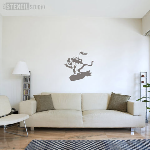 Banksy Bomb Monkey Wall Stencil at The Stencil Studio - Stencil Size XL