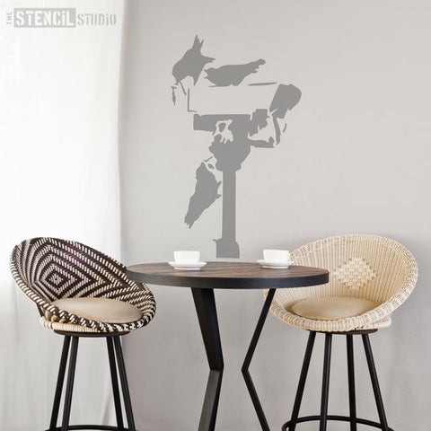 Banksy CCTV Crows Wall Stencil from The Stencil Studio - Stencil Size XL