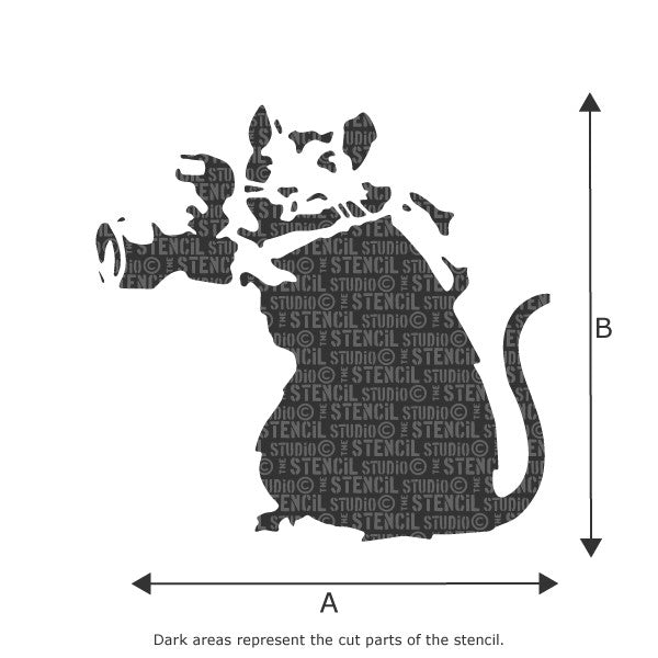 Banksy Camera Rat / Paparazzi Rat Wall Art Stencil available in a range of sizes - Size Chart