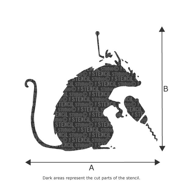 Banksy Drillin'Rat Wall Art Stencil available in a range of sizes from The Stencil Studio - Size Chart