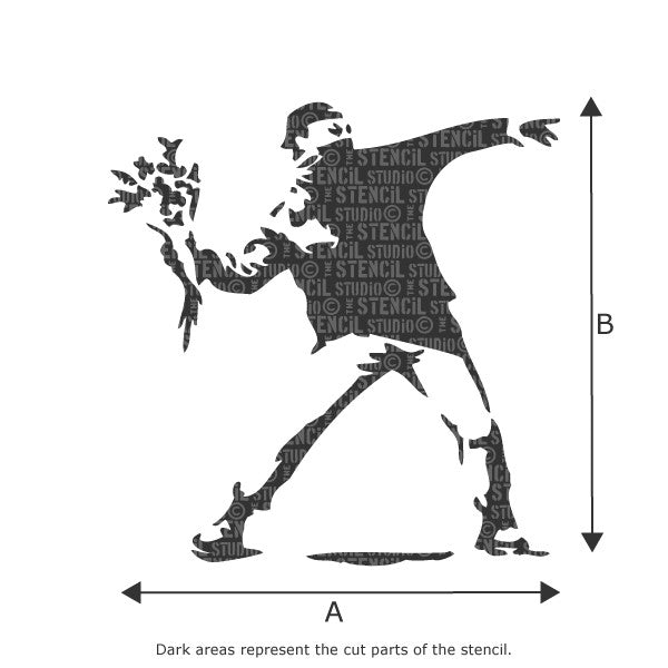 Banksy Flower Thrower Wall art stencil available in various sizes - Size Chart