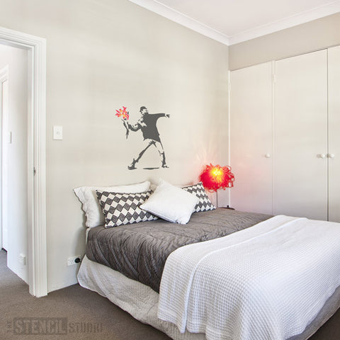 Banksy Flower Thrower Wall Stencil from The Stencil Studio - Size XL