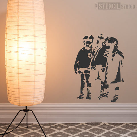 Banksy Gas Mask Kids Wall Stencil at The Stencil Studio - Stencil Size L