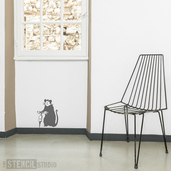 Banksy Jack Rat Wall Art Stencil from The Stencil Studio - Size S