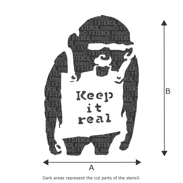 Banksy Keep it Real Monkey Wall Stencil available in a range of sizes at The Stencil Studio - Stencil Size Chart