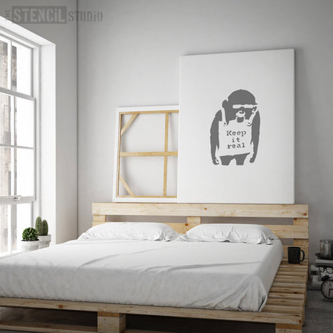 Banksy Keep it Real Monkey Wall Stencil at The Stencil Studio - Stencil Size XL