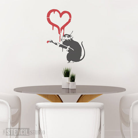 Banksy Love Rat / Painting Heart Rat Wall Stencil from The Stencil Studio - Size XL