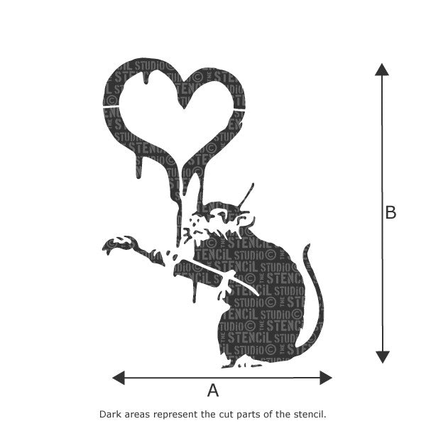Banksy Love Rat / Painting Heart Rat Wall Stencil available in a range of sizes - Size Chart