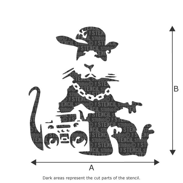 Banksy NYC Gangsta Rat / Hip Hop Rat Graffiti Wall Stencil available in a range of sizes at The Stencil Studio - Size Chart