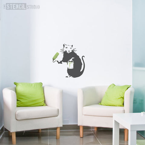 Banksy Painting Rat Graffiti Wall Stencil from The Stencil Studio - Size XL
