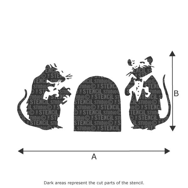 Banksy Red Carpet Rats Graffiti Wall Stencil available in a range of sizes at The Stencil Studio - Size Chart