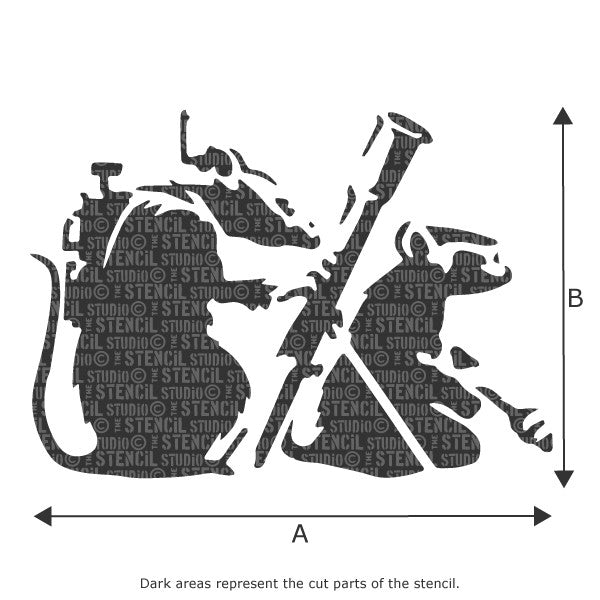 Banksy Resistance Rats / Rocket Launcher Rats Wall Stencil available in a range of sizes at The Stencil Studio - Size Chart