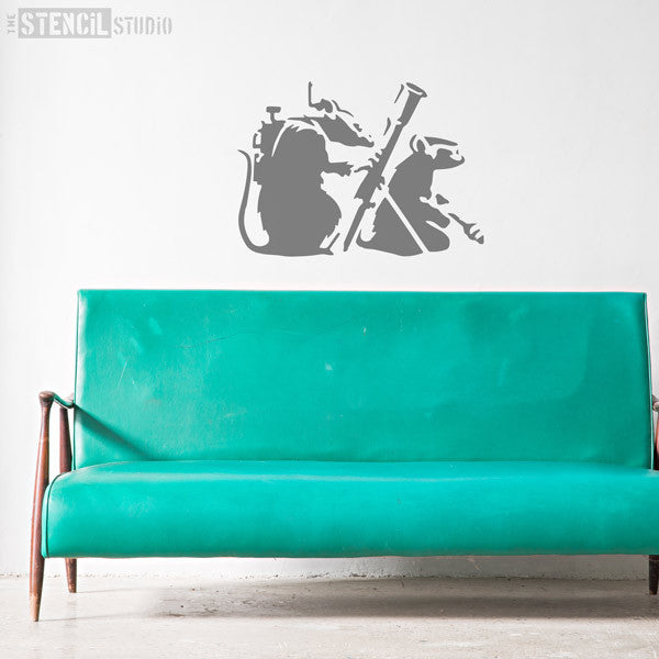 Banksy Resistance Rats / Rocket Launcher Rats Wall Stencil from The Stencil Studio - Size XL