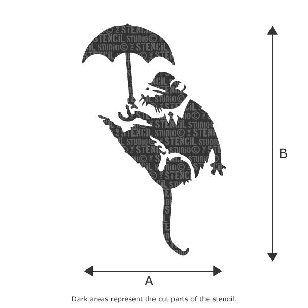 Banksy Umbrella Rat Graffiti Wall Stencil available in a range of sizes from The Stencil Studio - Size Chart