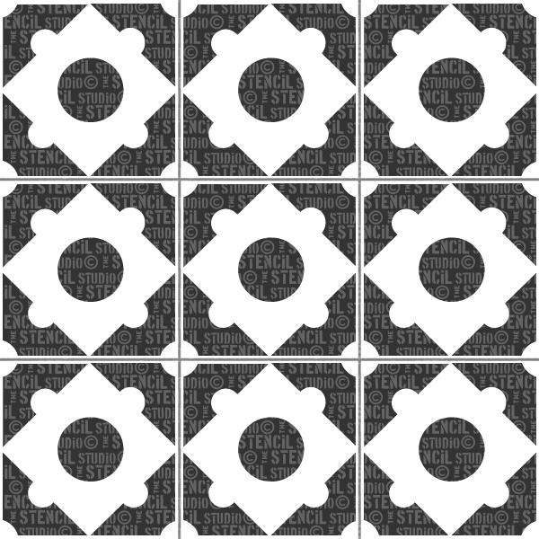 Luxley tile stencil from The Stencil Studio