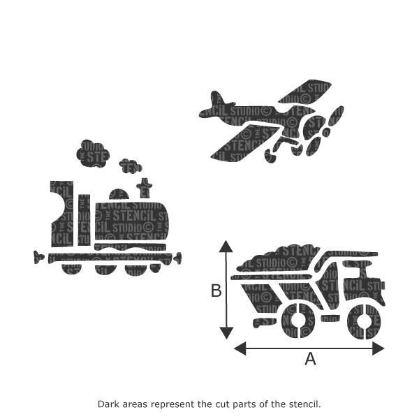 The Stencil Studio Plane, Train and Truck Stencil