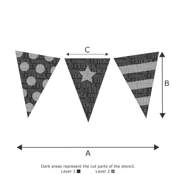 BUNTING FOR BOYS STENCIL FROM THE STENCIL STUDIO LTD