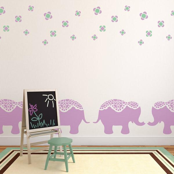 Nellie Elephant Nursery Stencil at The Stencil Studio - Stencil Size XL