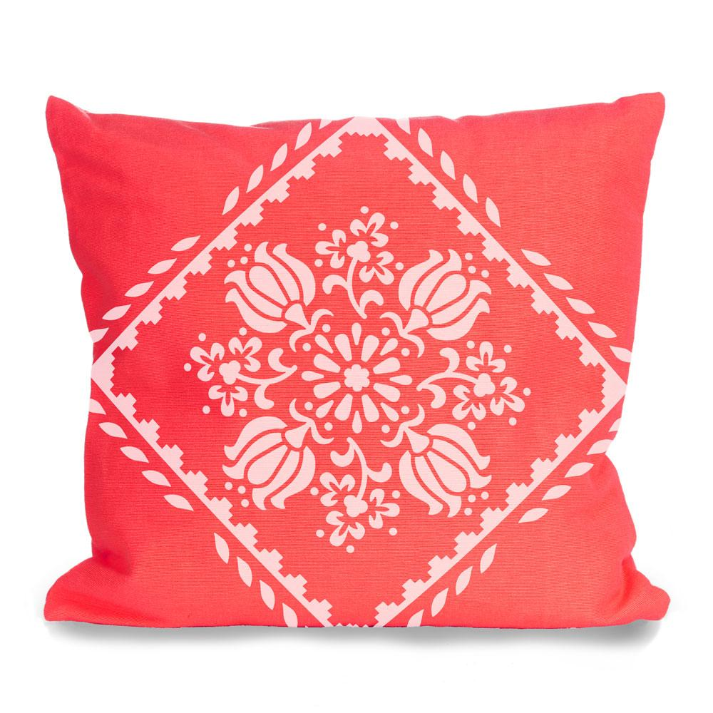 Sampler Borders stencil (2) from The Stencil Studio used on a cushion with Tulip Motif - Size S