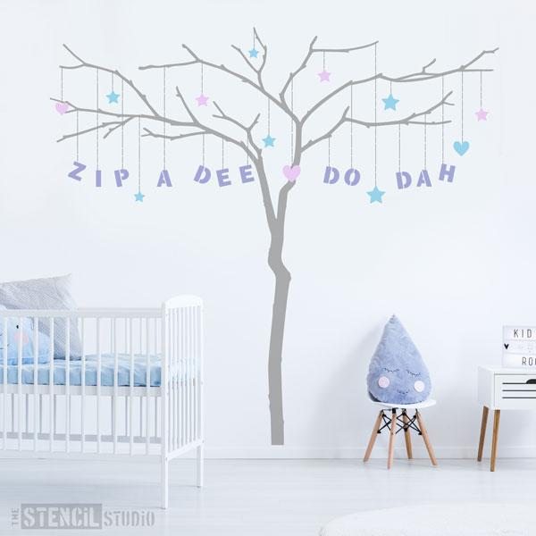 Large branch tree wall stencil - completely customisable stencils from The Stencil Studio - add any name or message with the alphabet stencils in the pack