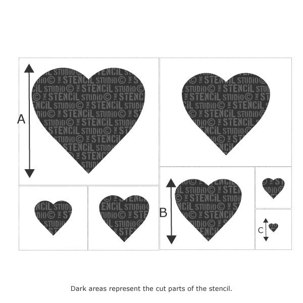 Heart Set of 7 stencils from The Stencil Studio Ltd