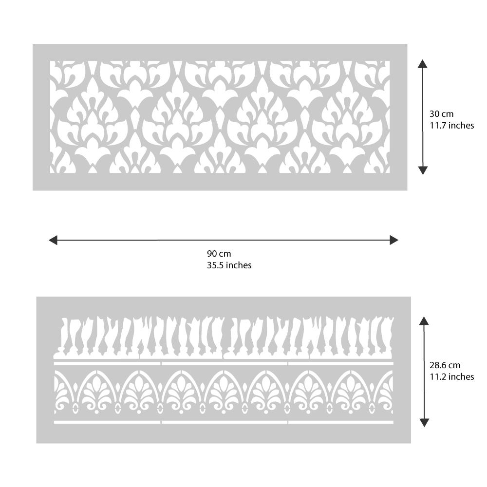 Acanthus Patio Rug Stencil from The Stencil Studio - stencil dimensions
