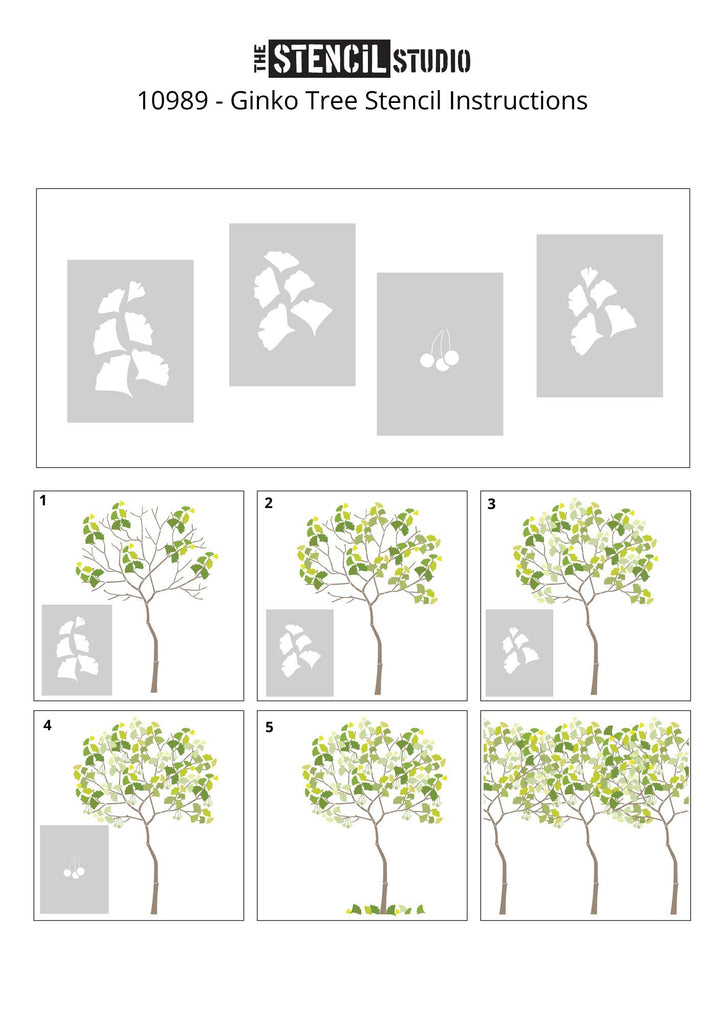 Round Tree with Ginko leaves stencil pack from The Stencil Studio - Adding leaves and berries to the tree