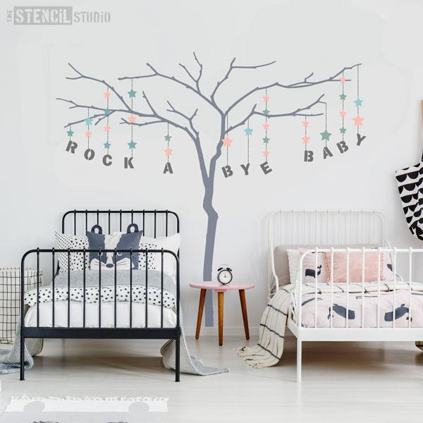 Large branch tree stencil with alphabet stencils for personalising - this one has text 'ROCK A BYE BABY'