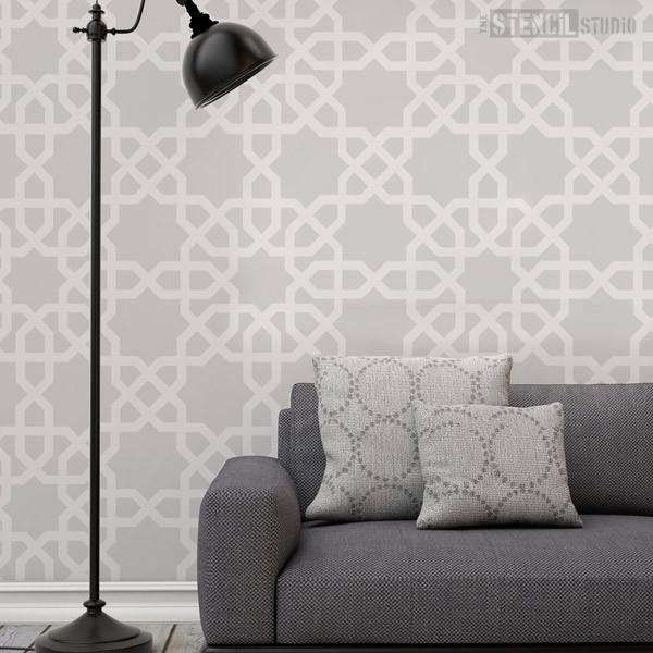 Fes Moroccan star pattern stencil from The Stencil Studio Ltd - Size XL