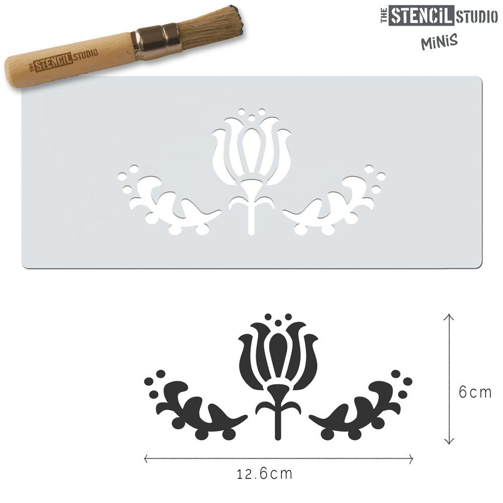 Tulip Flower Motif Stencil MiNi from The Stencil Studio