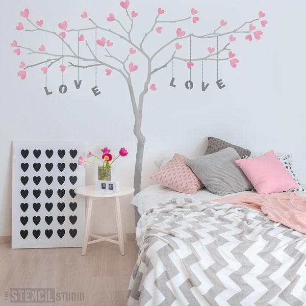 Love Tree! Customise the Branch Tree Stencil with a name or phrase, here we've used the heart stencils to add a leaf effect - personalisable stencils from The Stencil Studio