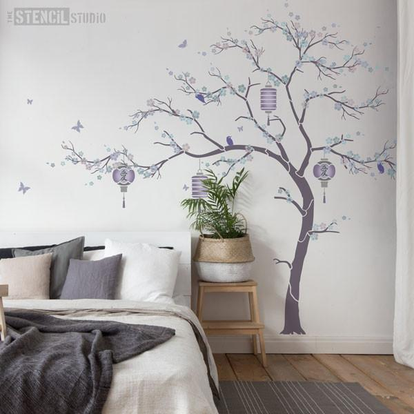 Cherry Blossom tree, lilac and grey room scheme from The Stencil Studio