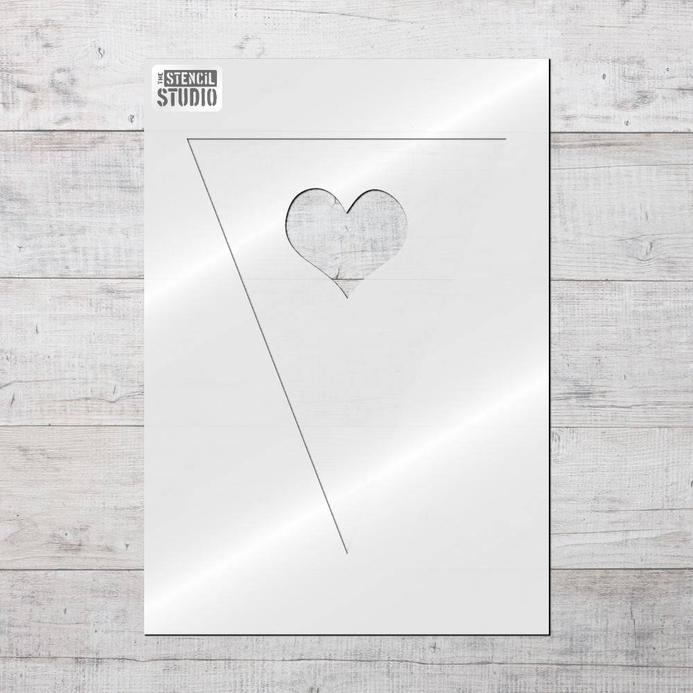 Single Heart Bunting stencil from The Stencil Studio mix and match Bunting stencils range