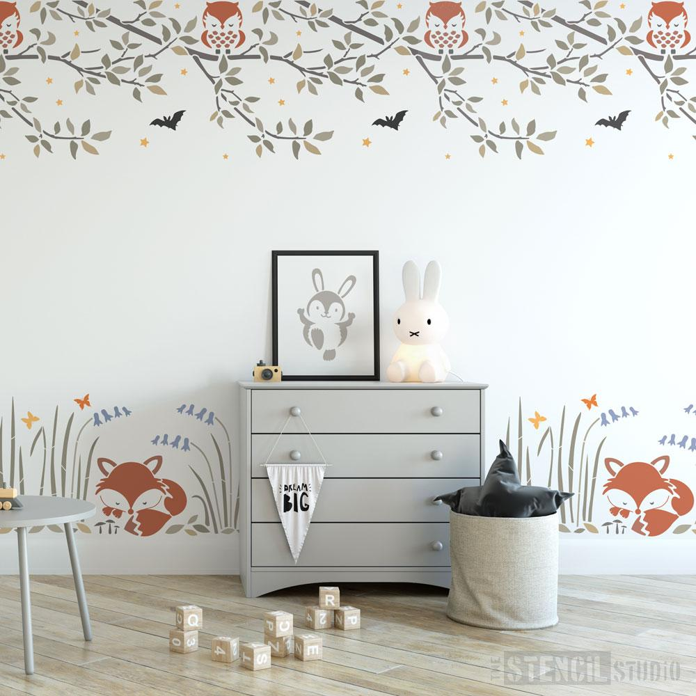 Owl Branch & Fox Border Stencil Set